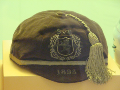 scottish football honours a cap for soccer and football photographed at national museum of scotland part of a collection of scottish photographs